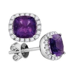 2.01 CTW Princess Natural Amethyst Diamond Stud Earrings 14KT White Gold - REF-67M4H