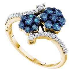 0.80 CTW Blue Color Diamond Double Flower Cluster Ring 10KT Yellow Gold - REF-37W5K