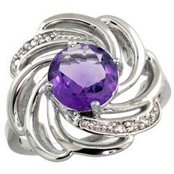 Natural 2.25 ctw amethyst & Diamond Engagement Ring 14K White Gold - REF-57V8F