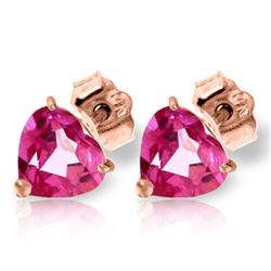 Genuine 3.25 ctw Pink Topaz Earrings Jewelry 14KT Rose Gold - REF-20T4A