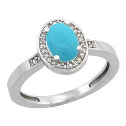 Natural 1.08 ctw Turquoise & Diamond Engagement Ring 14K White Gold - REF-32N8G