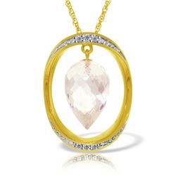 Genuine 12.35 ctw White Topaz & Diamond Necklace Jewelry 14KT Yellow Gold - REF-112R8P