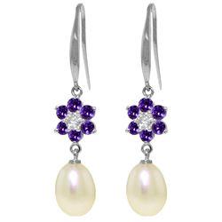 Genuine 9.01 ctw Amethyst, Pearl & Diamond Earrings Jewelry 14KT White Gold - REF-44M3T