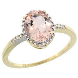 Natural 1.2 ctw Morganite & Diamond Engagement Ring 14K Yellow Gold - REF-27X9A