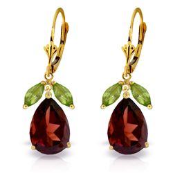 Genuine 13 ctw Garnet & Peridot Earrings Jewelry 14KT Yellow Gold - REF-71M3T