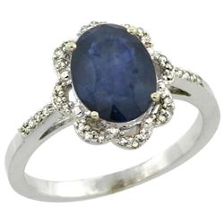 Natural 2.25 ctw Blue-sapphire & Diamond Engagement Ring 14K White Gold - REF-52R3Z