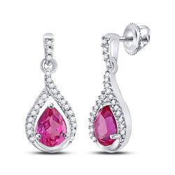 3.2 CTW Created Pink Sapphire Dangle Earrings 10KT White Gold - REF-22W4K