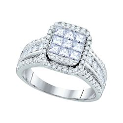 1.51 CTW Princess Diamond Cluster Bridal Engagement Ring 14KT White Gold - REF-179M9H