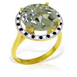 Genuine 5.2 ctw Green Amethyst, White & Black Diamond Ring Jewelry 14KT Yellow Gold - REF-90Z6N
