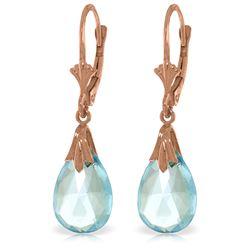 Genuine 6 ctw Blue Topaz Earrings Jewelry 14KT Rose Gold - REF-27P8H