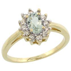 Natural 0.67 ctw Green-amethyst & Diamond Engagement Ring 14K Yellow Gold - REF-48K6R