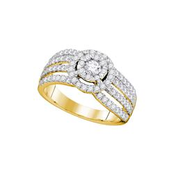 1.02 CTW Diamond Solitaire Halo Strand Bridal Engagement Ring 14KT Yellow Gold - REF-127M4H