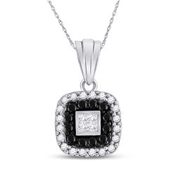 0.54 CTW Black Color Diamond Square Pendant 14KT White Gold - REF-32Y9X