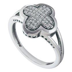 0.15 CTW Diamond Cluster Ring 10KT White Gold - REF-24W2K
