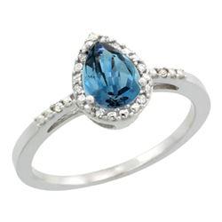 Natural 1.53 ctw london-blue-topaz & Diamond Engagement Ring 14K White Gold - REF-25F6N