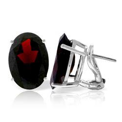 Genuine 13 ctw Garnet Earrings Jewelry 14KT White Gold - REF-67W9Y