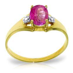 Genuine 0.76 ctw Pink Topaz & Diamond Ring Jewelry 14KT Yellow Gold - REF-26N2R