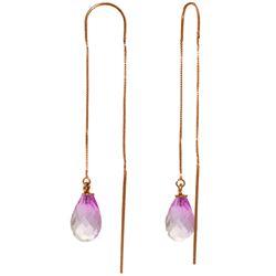 Genuine 4.5 ctw Pink Topaz Earrings Jewelry 14KT Rose Gold - REF-20Z4N
