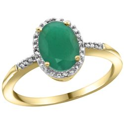 Natural 1.5 ctw Emerald & Diamond Engagement Ring 10K Yellow Gold - REF-26X8A