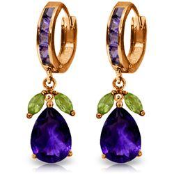 Genuine 14.3 ctw Multi-gemstone Earrings Jewelry 14KT Rose Gold - REF-82P9H
