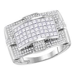 1.98 CTW Mens Princess Diamond Wide Arched Cluster Ring 14KT White Gold - REF-179K9W
