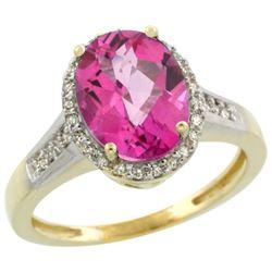 Natural 2.49 ctw Pink-topaz & Diamond Engagement Ring 14K Yellow Gold - REF-42K2R