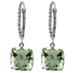 Genuine 7.2 ctw Green Amethyst Earrings Jewelry 14KT White Gold - REF-42F7Z