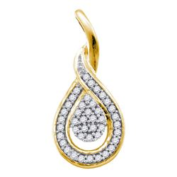 0.10 CTW Diamond Teardrop Pendant 10KT Yellow Gold - REF-13X4Y