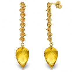 Genuine 22.1 ctw Citrine Earrings Jewelry 14KT Yellow Gold - REF-69R2P
