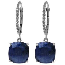 Genuine 9.66 ctw Sapphire Earrings Jewelry 14KT White Gold - REF-89V3W