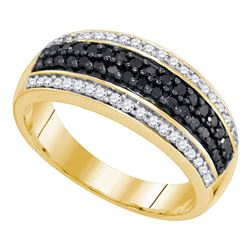 0.50 CTW Black Color Diamond Ring 10KT Yellow Gold - REF-30X2Y