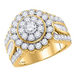 3.02 CTW Diamond Solitaire Halo Bridal Engagement Ring 14KT Yellow Gold - REF-299X9Y