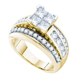 2 CTW Princess Diamond Cluster Bridal Engagement Ring 14KT Yellow Gold - REF-277X4Y