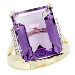 Natural 12.13 ctw Amethyst & Diamond Engagement Ring 10K Yellow Gold - REF-55F8N
