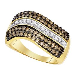 0.90 CTW Cognac-brown Color Diamond Ring 10KT Yellow Gold - REF-49N5F