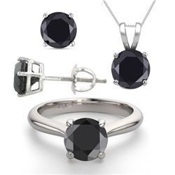 14K White Gold SET 6.0CTW Black Diamond Ring, Earrings, Necklace - REF-449X8W-WJ13344