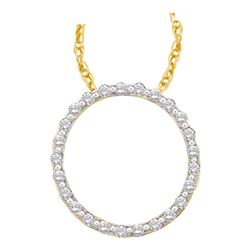 0.50 CTW Diamond Circle Outline Pendant 14KT Yellow Gold - REF-44W9K