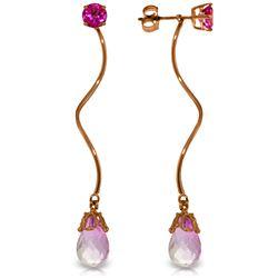 Genuine 6.8 ctw Pink Topaz Earrings Jewelry 14KT Rose Gold - REF-39X3M