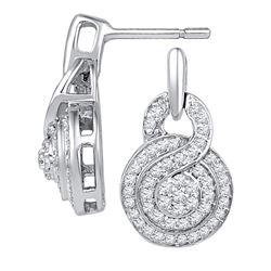 0.50 CTW Diamond Circle Cluster Earrings 10KT White Gold - REF-40W4K