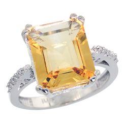 Natural 5.48 ctw Citrine & Diamond Engagement Ring 14K White Gold - REF-51F4N