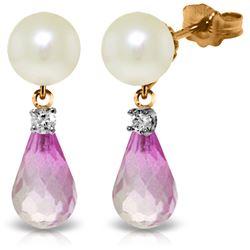 Genuine 6.6 ctw Pink Topaz & Diamond Earrings Jewelry 14KT Rose Gold - REF-27T6A