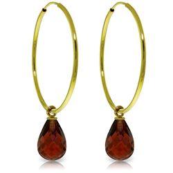 Genuine 4.5 ctw Garnet Earrings Jewelry 14KT Yellow Gold - REF-26H2X