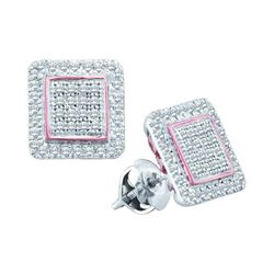0.31 CTW Diamond Cluster Square Rose-tone Stud Earrings 10KT White Gold - REF-26W9K