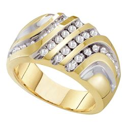 0.50 CTW Mens Diamond Four Row Two-tone Cluster Ring 10KT Yellow Gold - REF-49K5W