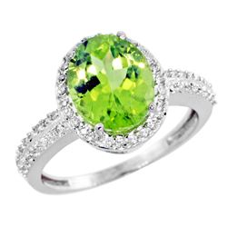 Natural 2.56 ctw Peridot & Diamond Engagement Ring 14K White Gold - REF-46R6Z