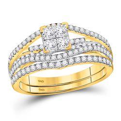 1 CTW Princess Diamond Bridal Engagement Ring 10KT Yellow Gold - REF-75Y2X