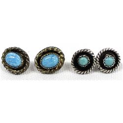 2 Pairs Sterling Silver Turquoise Post Earrings