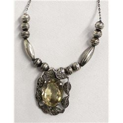 Sterling Silver Marcasite and Citrine Necklace