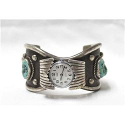 Navajo Silver Turquoise Coral Watch Band