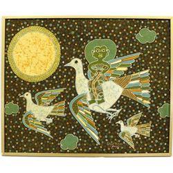 Birds & Orange Sun Batik Painting by Wahyu Mahyar